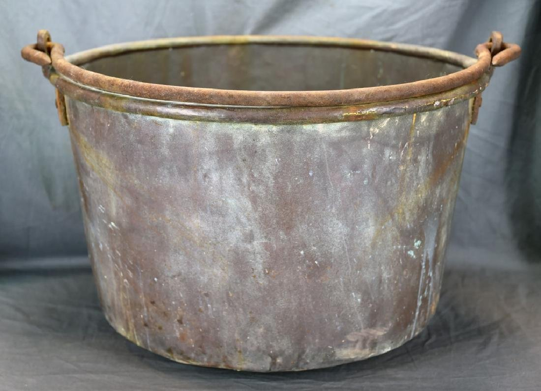 Large Copper Pail with Iron Handle