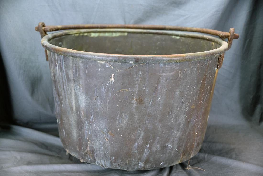 Large Copper Pail with Iron Handle - 4