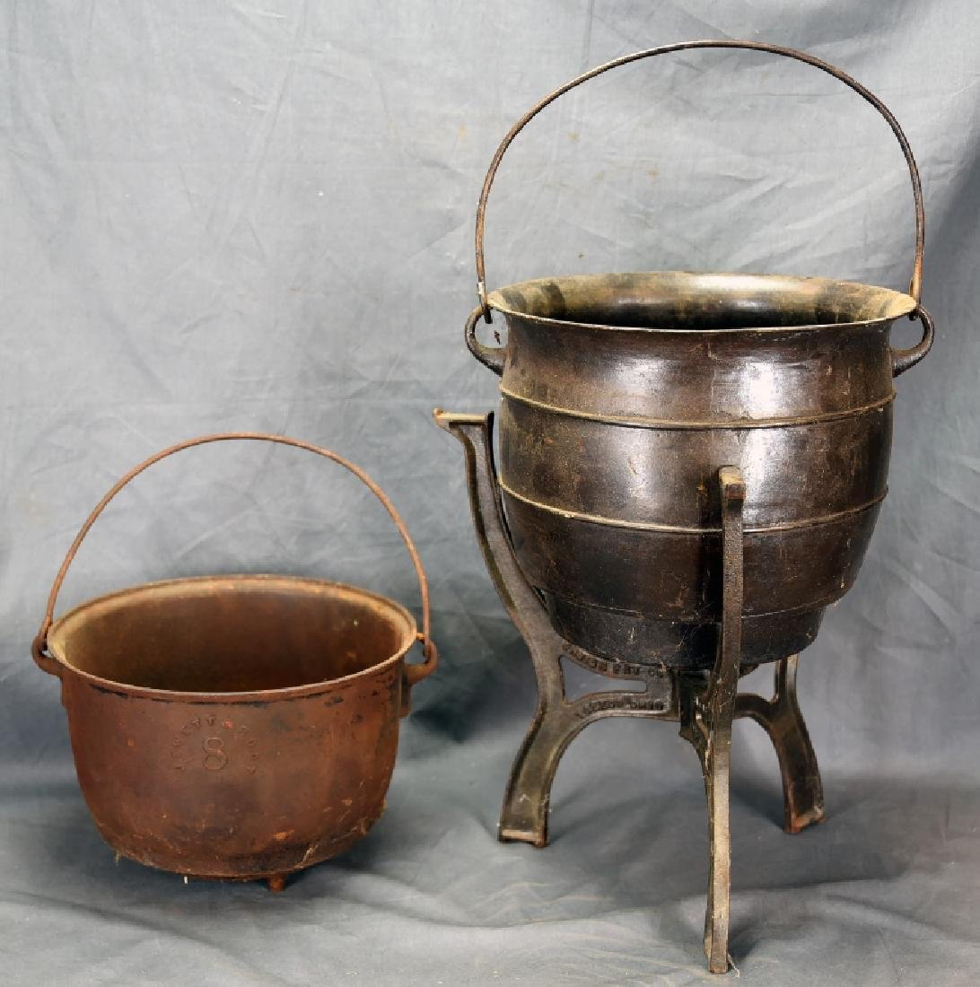 2 Iron Pots, 1 on Stand