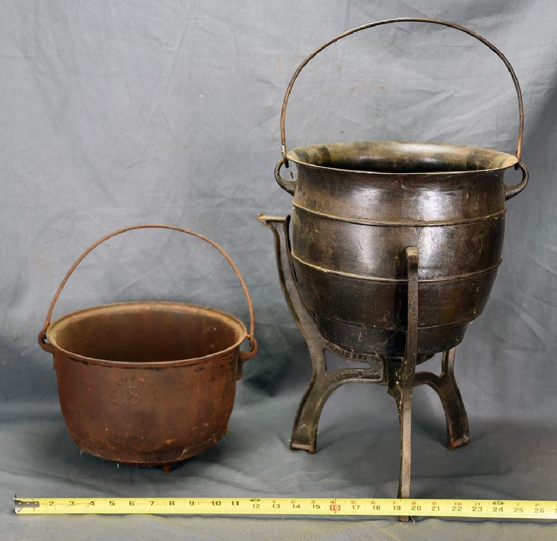 2 Iron Pots, 1 on Stand - 2
