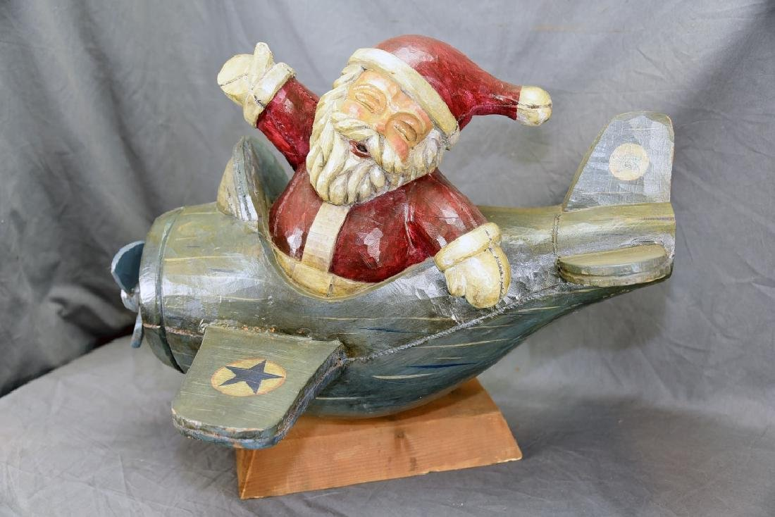 Carved Wooden Santa Flying an Airplane - 3