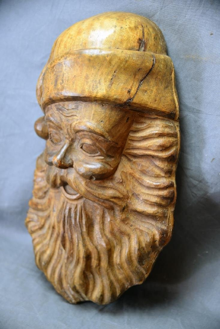 Large Santa Face Paper Carved Wooden Mache Mold - 3