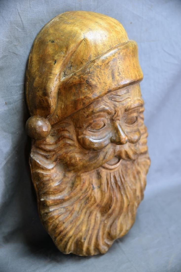 Large Santa Face Paper Carved Wooden Mache Mold - 4