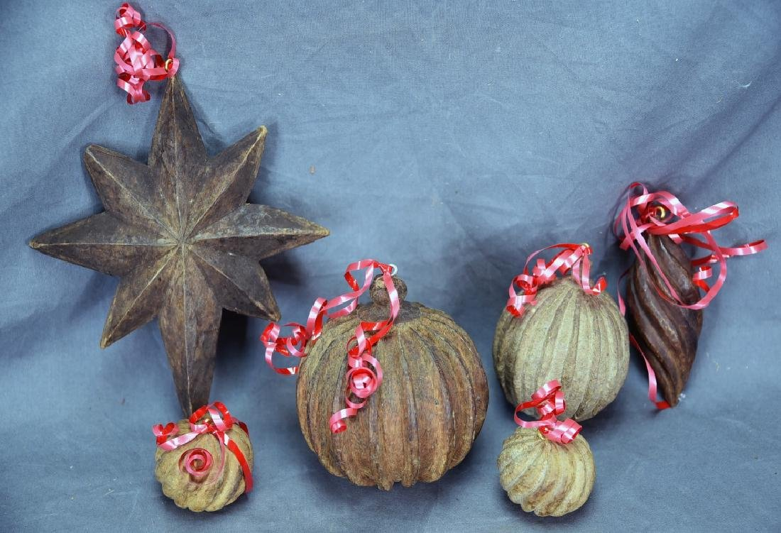 6 Wooden Paper Mache Mold Christmas Ornaments