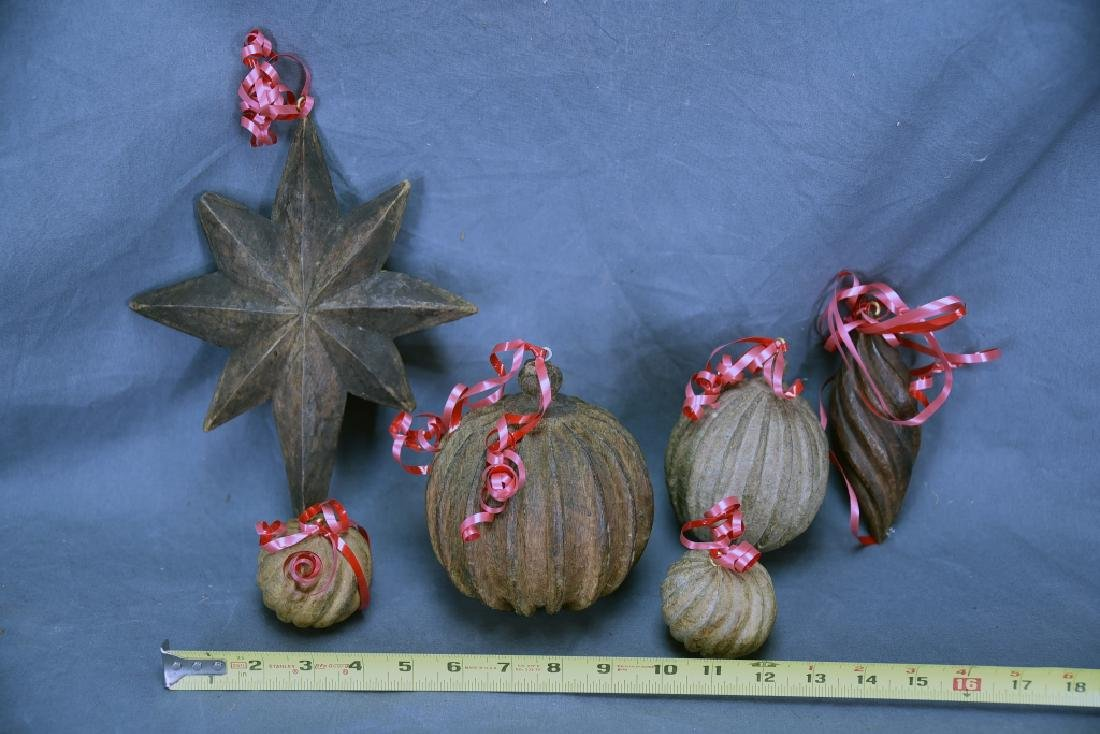 6 Wooden Paper Mache Mold Christmas Ornaments - 2