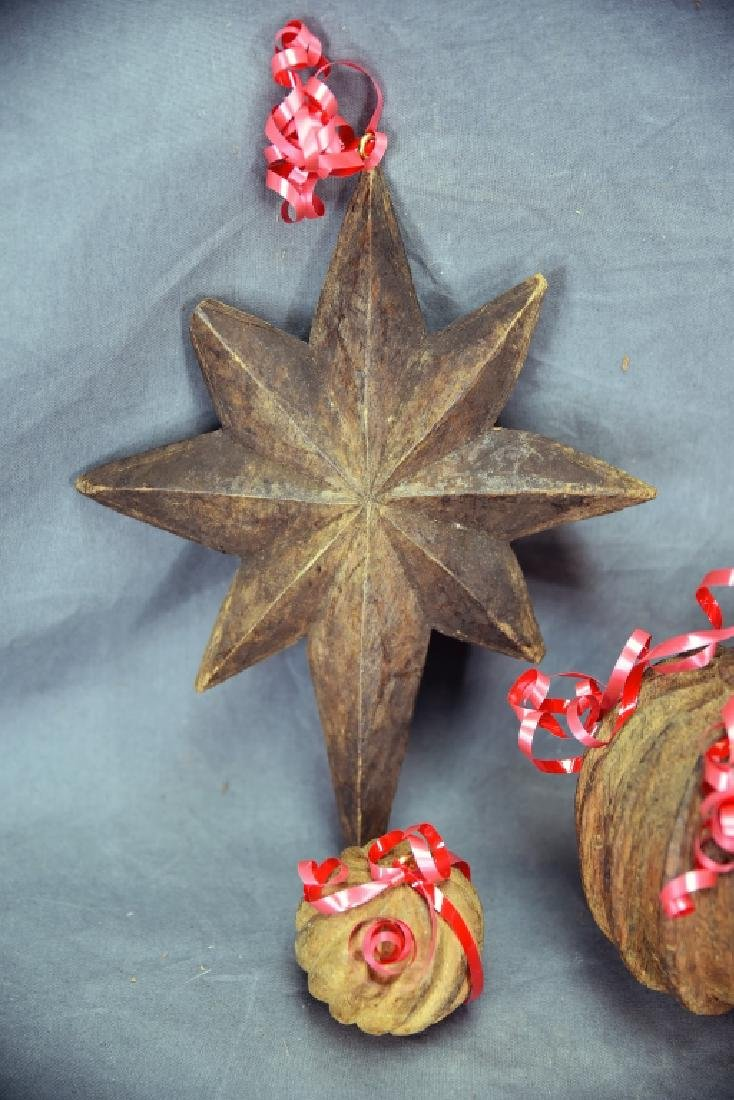 6 Wooden Paper Mache Mold Christmas Ornaments - 3