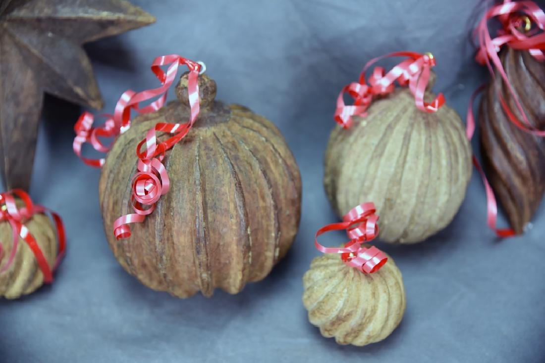 6 Wooden Paper Mache Mold Christmas Ornaments - 4