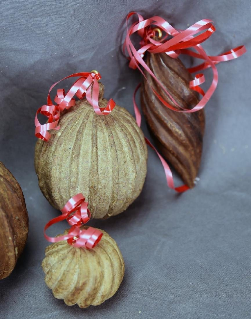 6 Wooden Paper Mache Mold Christmas Ornaments - 5