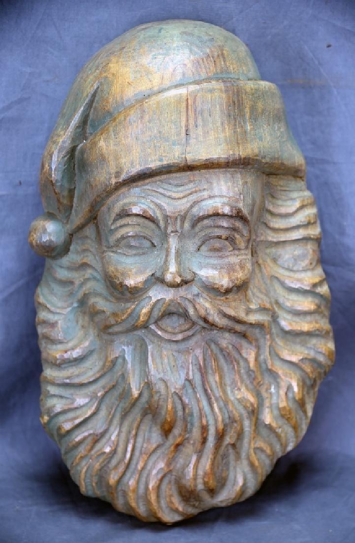 Santa Head Carved Wooden Paper Mache Mold