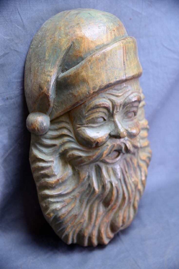 Santa Head Carved Wooden Paper Mache Mold - 2