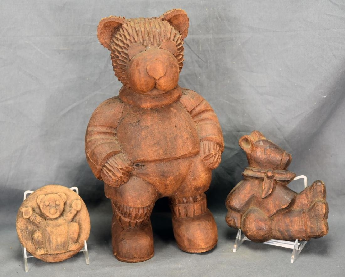3 Carved Wooden Bear Paper Mache Molds