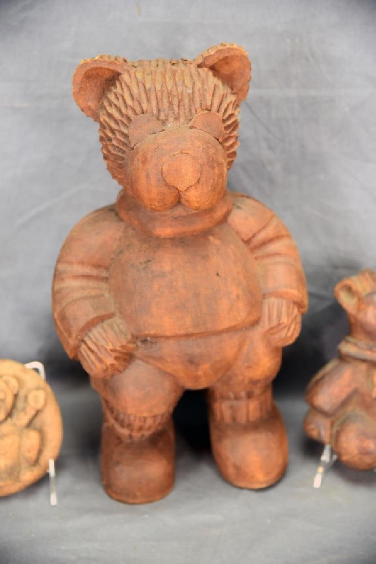 3 Carved Wooden Bear Paper Mache Molds - 2