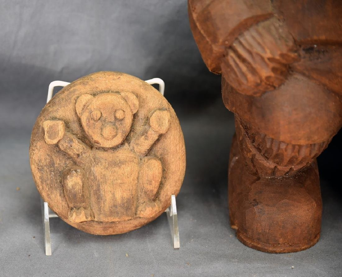 3 Carved Wooden Bear Paper Mache Molds - 3