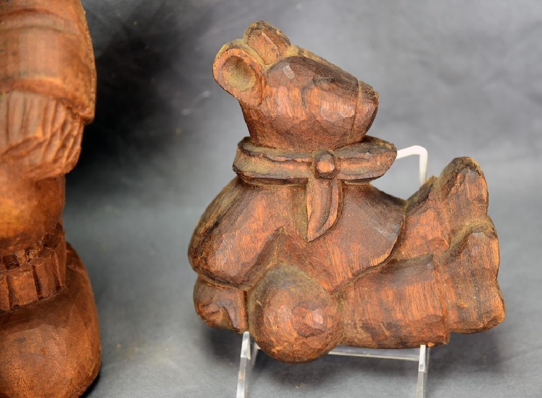 3 Carved Wooden Bear Paper Mache Molds - 7