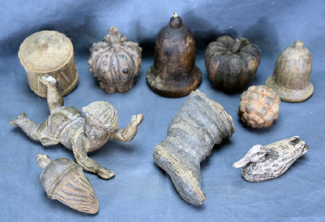 10 Carved Wooden Paper Mache Ornament Molds