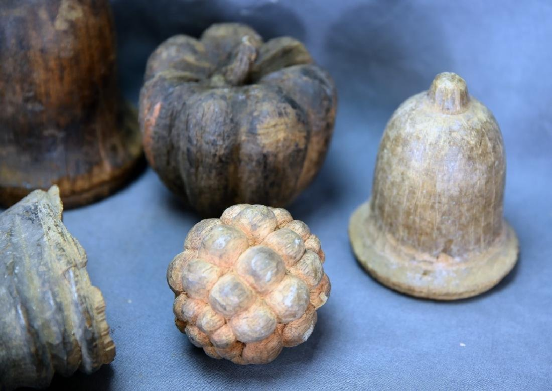 10 Carved Wooden Paper Mache Ornament Molds - 8