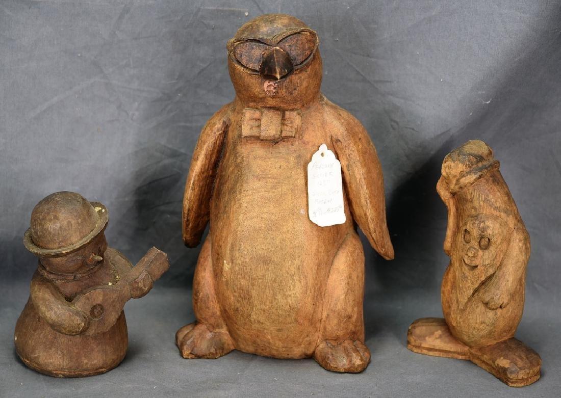 3 Wood Paper Mache Molds, Penguin, Schmoo, Snowman