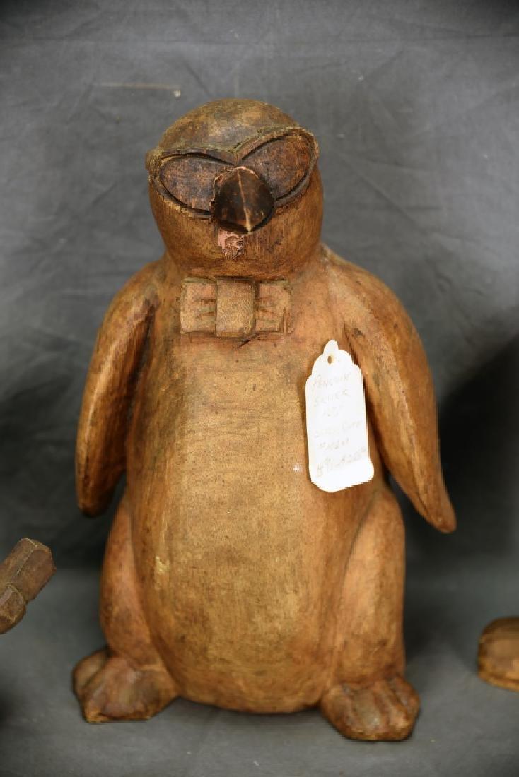 3 Wood Paper Mache Molds, Penguin, Schmoo, Snowman - 3