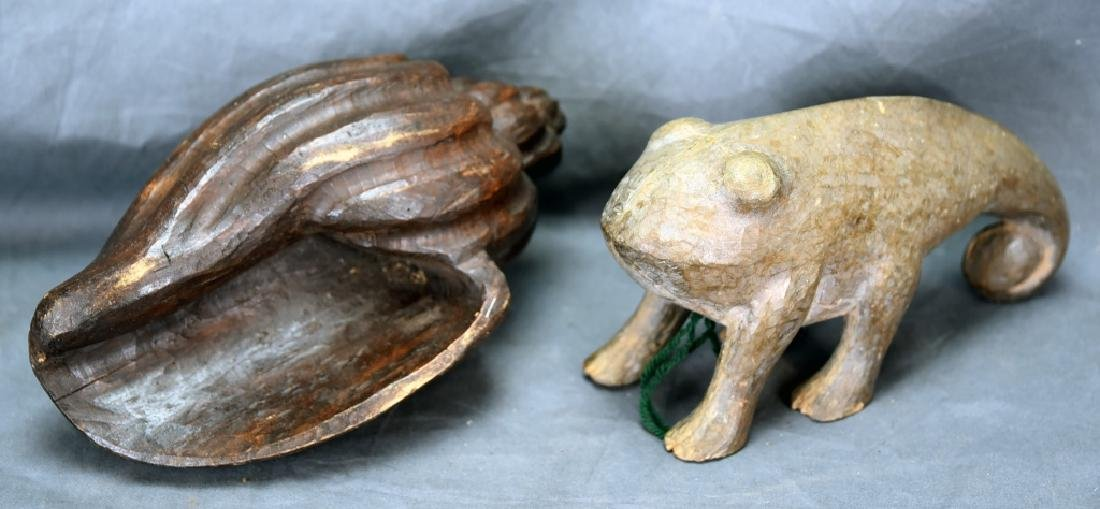2 Carved Wooden Paper Mache Molds, Shell, Tadpole