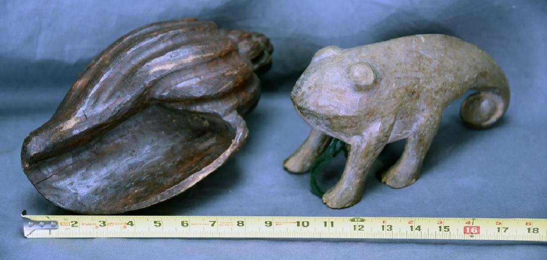 2 Carved Wooden Paper Mache Molds, Shell, Tadpole - 4