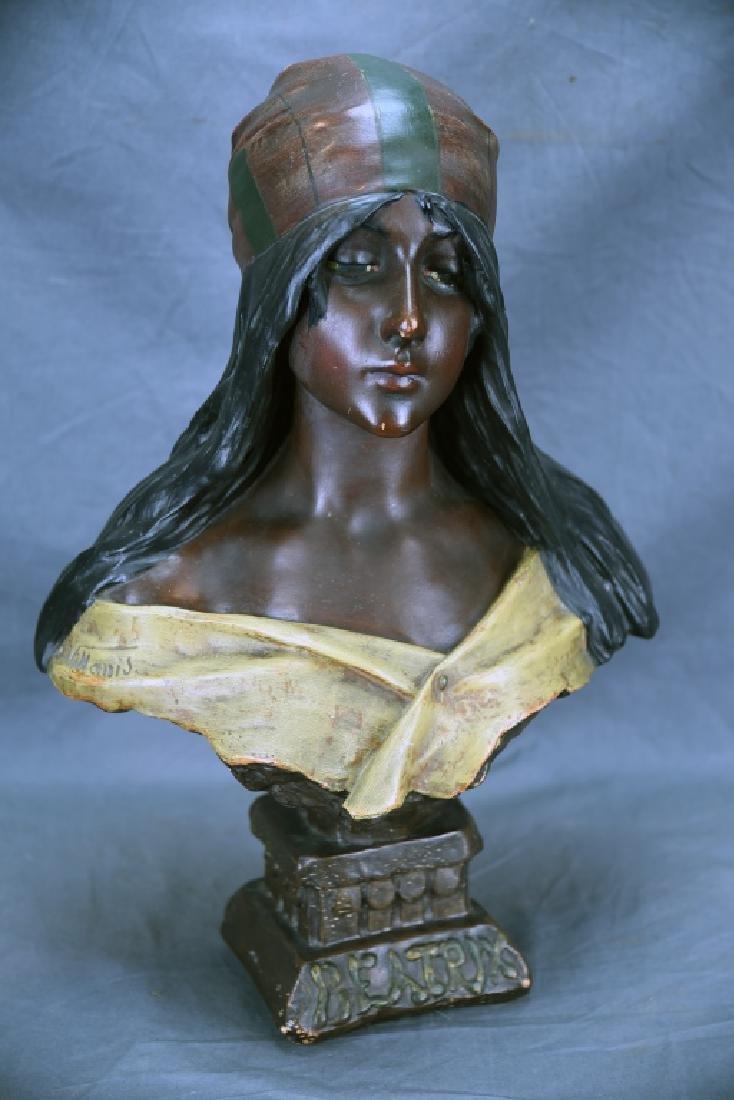 Art Nouveau Villanis Plaster Bust Of Beatrix