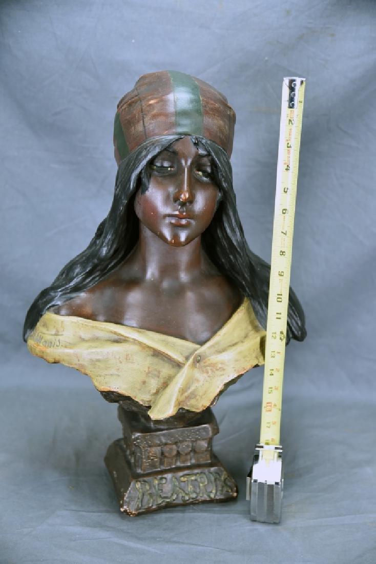 Art Nouveau Villanis Plaster Bust Of Beatrix - 2