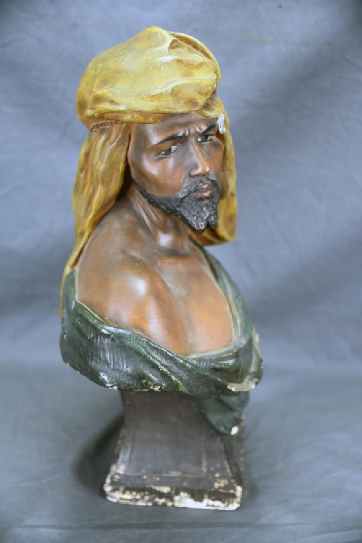 Polychromed Plaster Bust Marked C. B. - 5