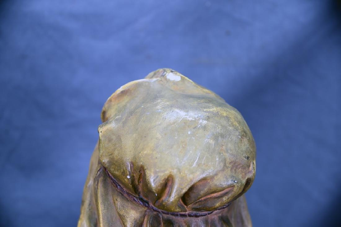 Polychromed Plaster Bust Marked C. B. - 8