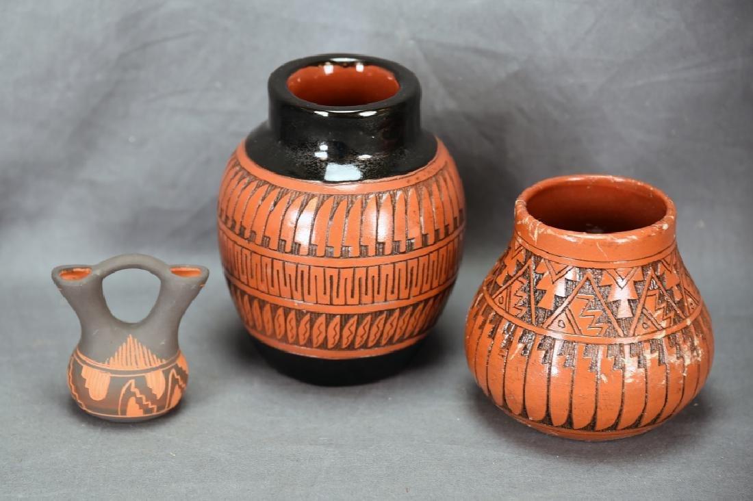 3 Signed Navajo Native American Pots