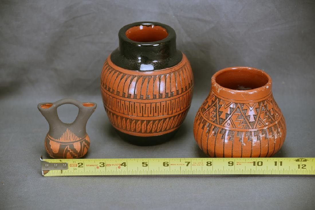 3 Signed Navajo Native American Pots - 2