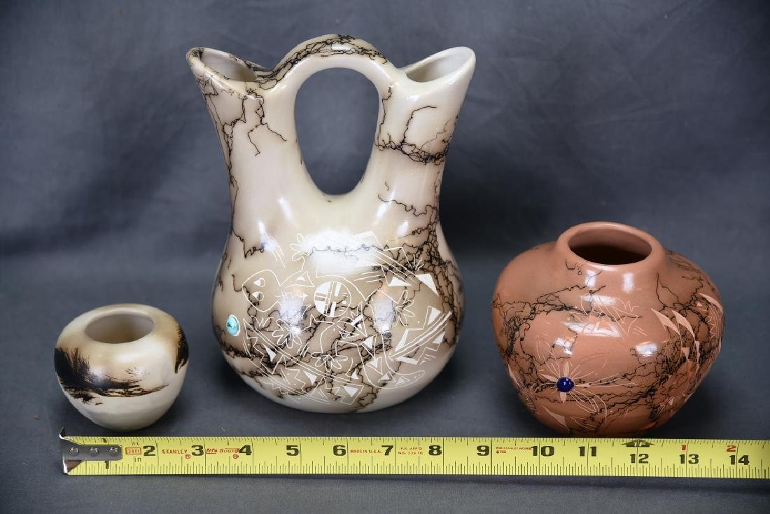 3 Signed Navajo Scratch Decorated Pots - 9
