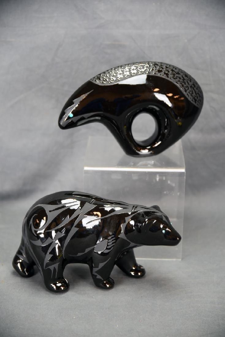 2 Pieces Ben Saxon Navajo Black Pottery