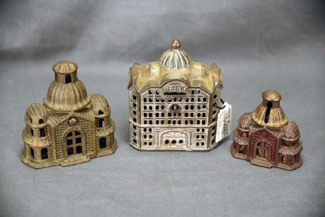 3 Cast Iron Architectural Still Banks, Domes