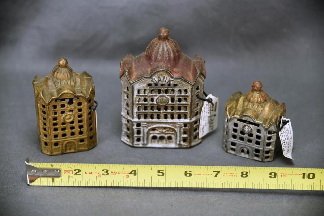 3 Cast Iron Architectural Still Banks, Domes - 2