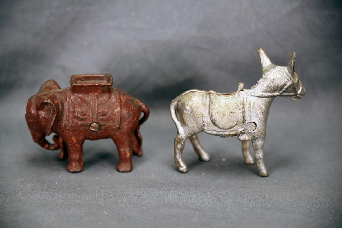 Donkey and Elephant Cast Iron Still Banks - 2