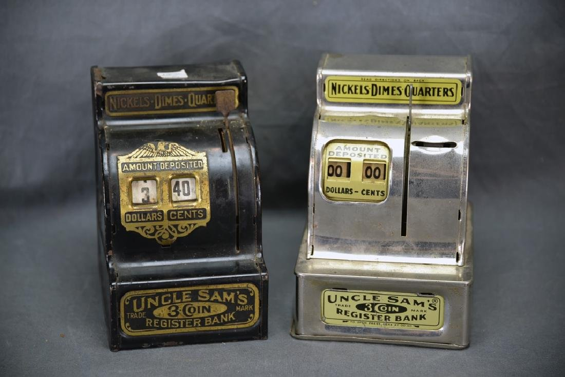 2 Uncle Sam's 3 Coins Cash Register Banks