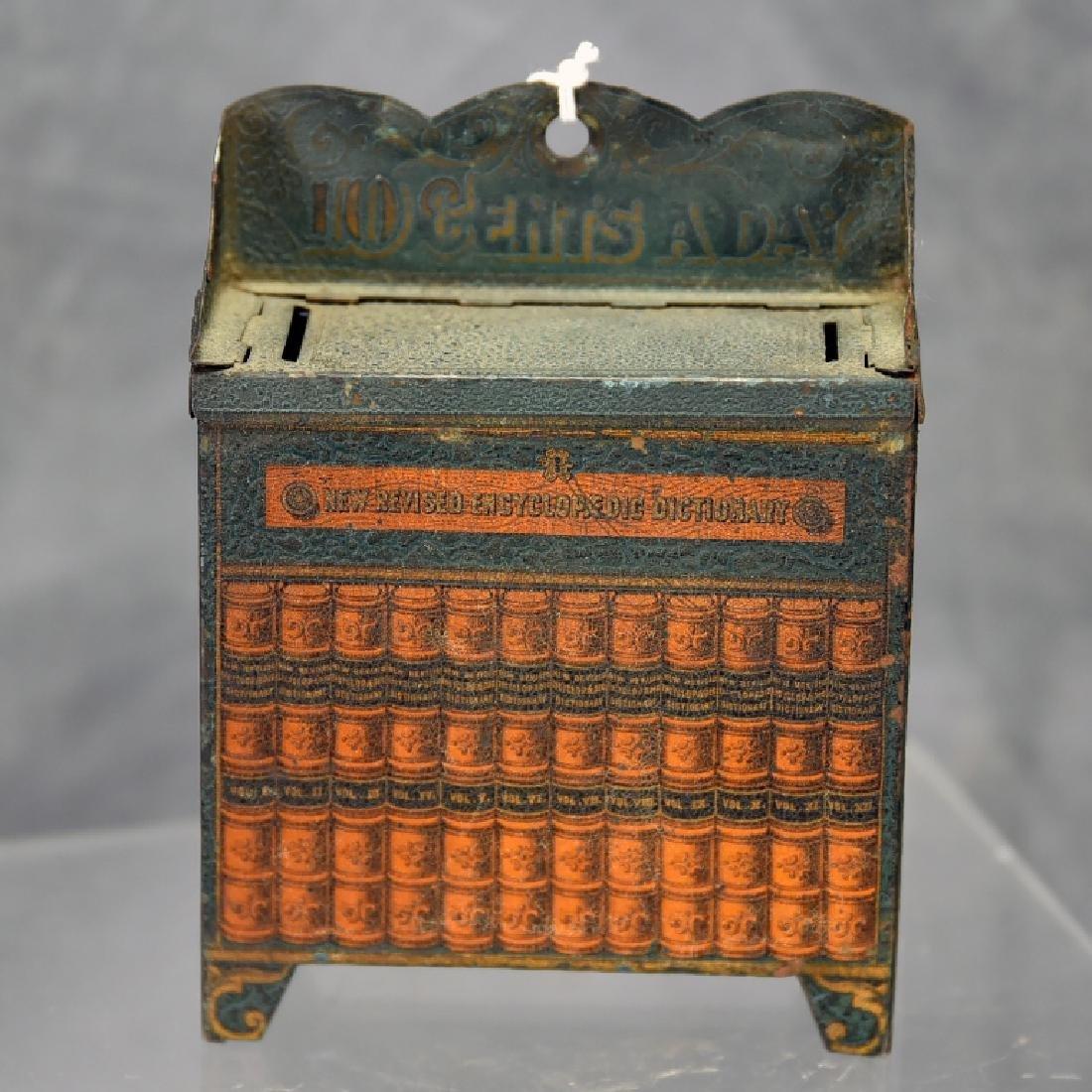 10 Cents a Day Tin Encyclopedia Bookcase Bank
