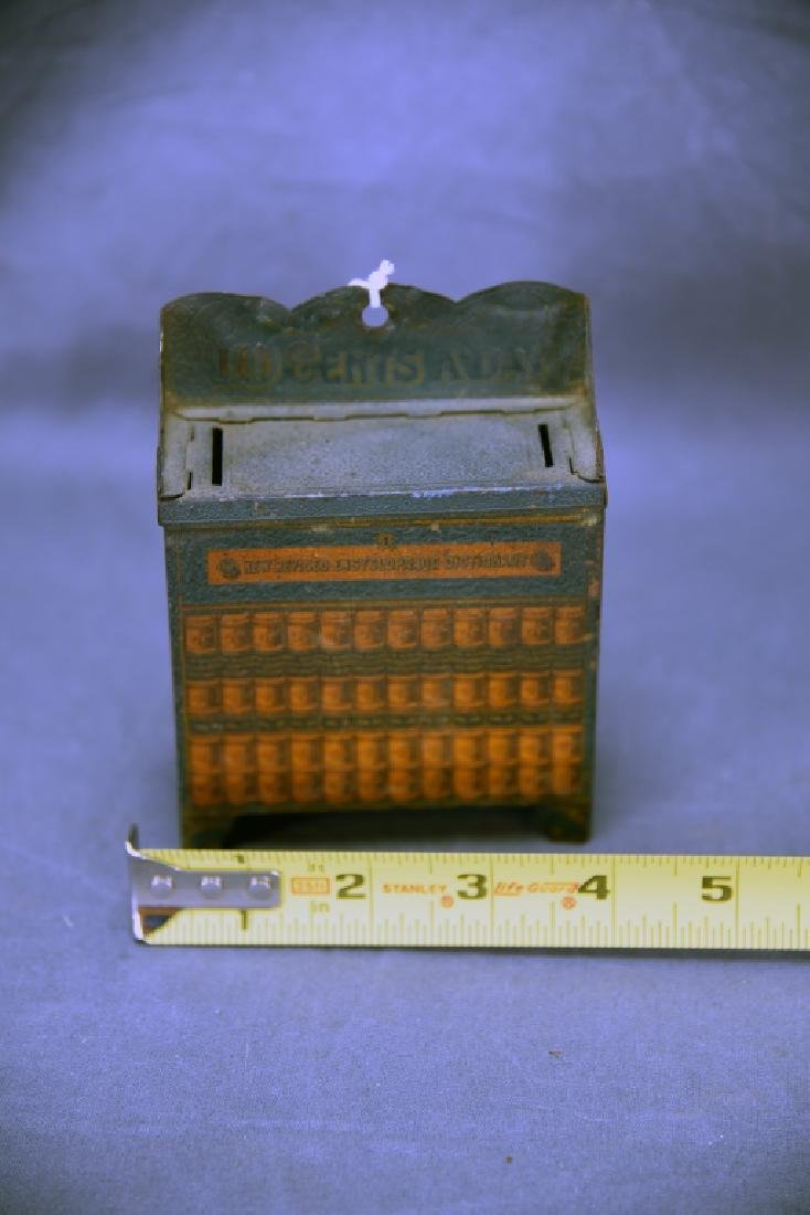 10 Cents a Day Tin Encyclopedia Bookcase Bank - 2