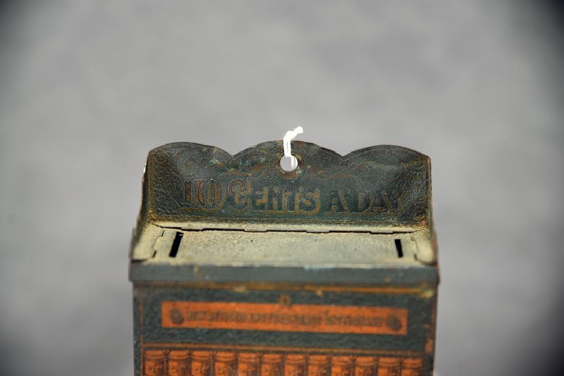 10 Cents a Day Tin Encyclopedia Bookcase Bank - 4