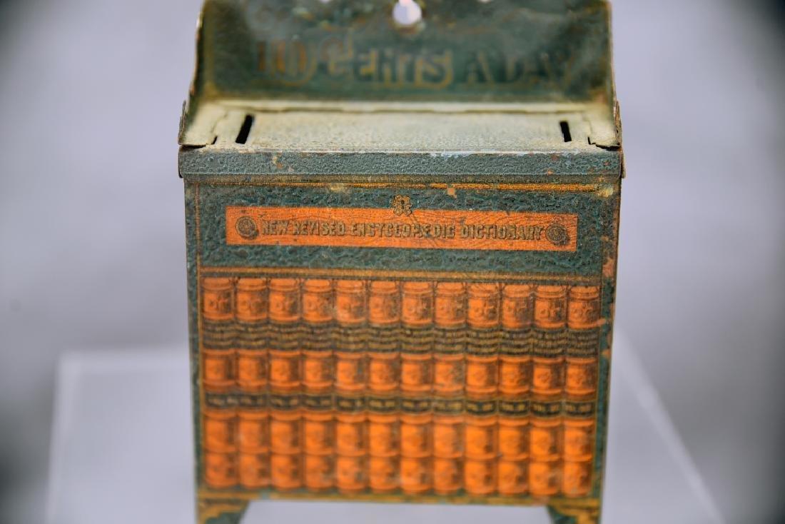 10 Cents a Day Tin Encyclopedia Bookcase Bank - 5