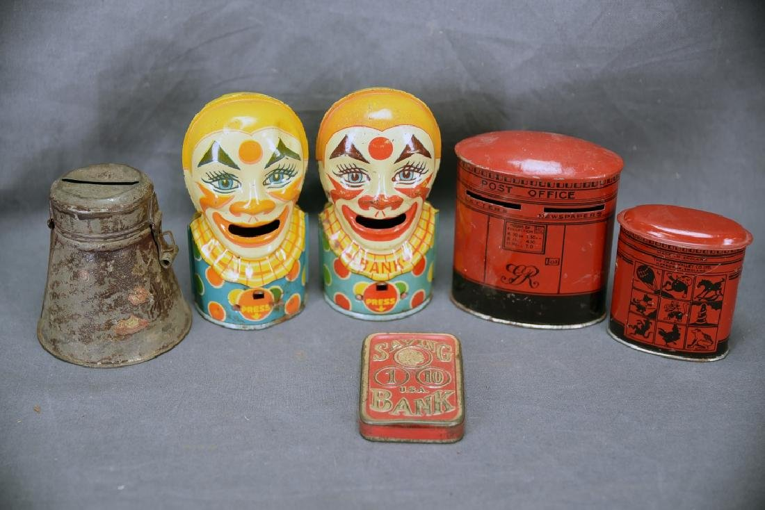 6 Vintage Tin Banks, Chein Clowns, Chad Valley