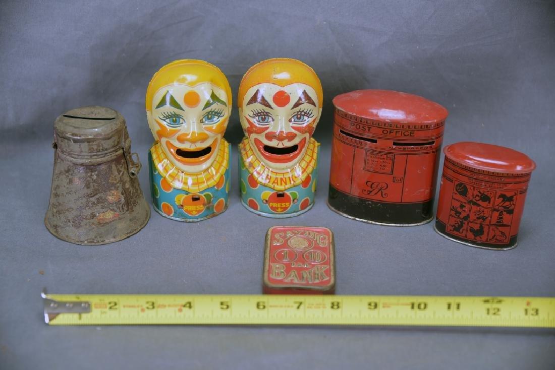 6 Vintage Tin Banks, Chein Clowns, Chad Valley - 2