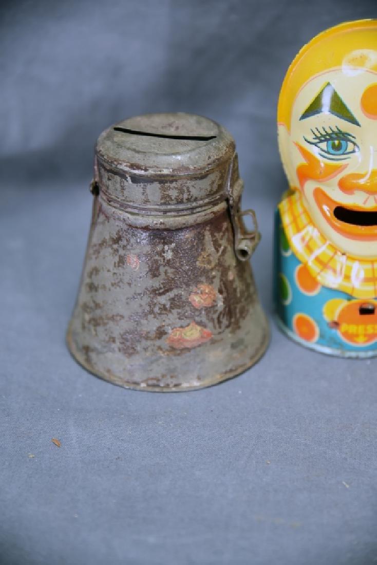 6 Vintage Tin Banks, Chein Clowns, Chad Valley - 3