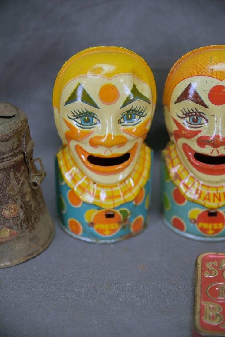 6 Vintage Tin Banks, Chein Clowns, Chad Valley - 4