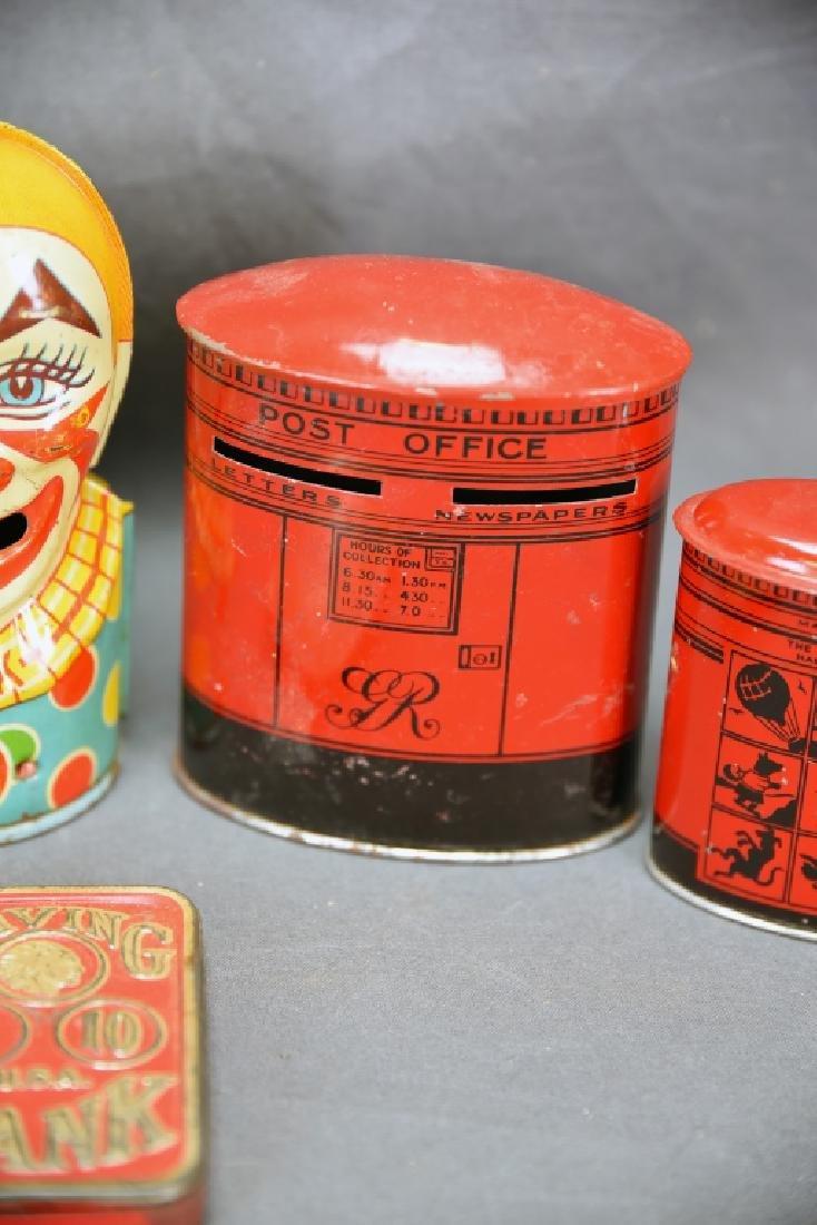 6 Vintage Tin Banks, Chein Clowns, Chad Valley - 6