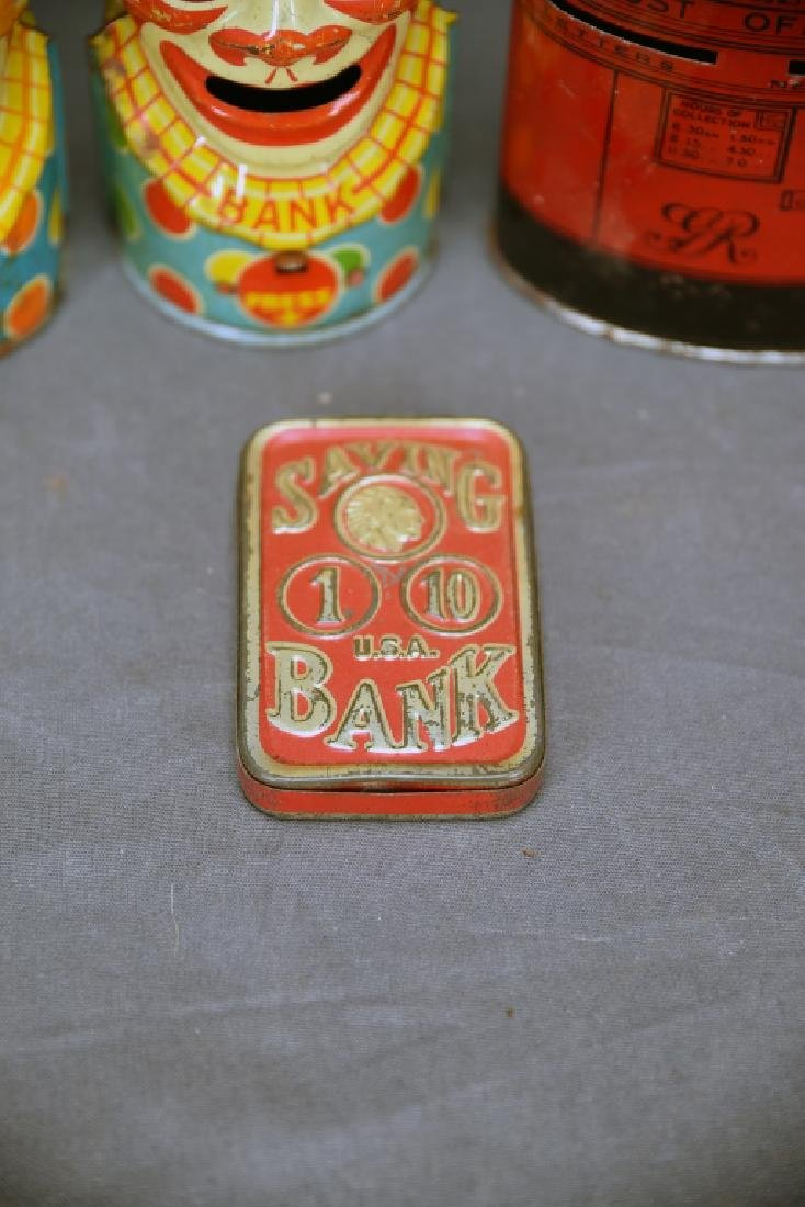 6 Vintage Tin Banks, Chein Clowns, Chad Valley - 8