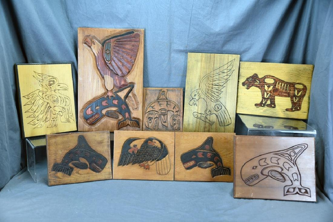 9 Carved Wooden Wall Plaques Ray Shaw Nitinaht