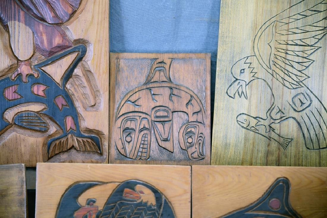 9 Carved Wooden Wall Plaques Ray Shaw Nitinaht - 9