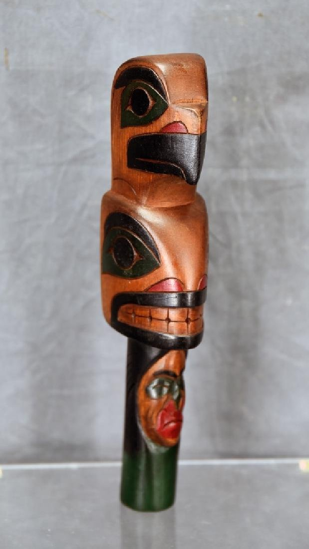 """Northwest Native Carved Wooden Rattle, Signed """"A"""""""