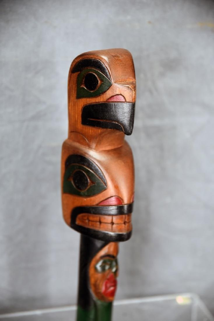 """Northwest Native Carved Wooden Rattle, Signed """"A"""" - 2"""